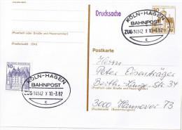 "E647 Postkarte Bahnpost ""KÖLN-HAGEN"" UB ""c"" 1982 - BRD"