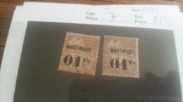 LOT 218819 TIMBRE DE COLONIE MARTINIQUE NEUF* OBLITERE N�7