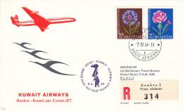 Gen�ve Kuwait 1964 via Comet JET - 1er vol erstflug Inaugural flight - Suisse Koweit