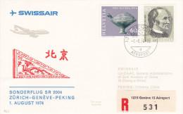 Zurich Genève Pekin 1974 Via Swissair - 1er Vol Erstflug Inaugural Flight - Suisse - China Beijing - 1949 - ... République Populaire