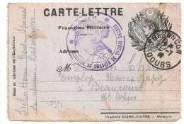 Carte Lettre BADER FAIVRE, Centre De Reforme De BESANCON Doubs. - Cartes De Franchise Militaire