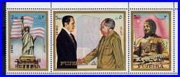 FUJEIRA = CHAIRMAN MAO & NIXON MNH BUDDHA STATUE & STATUE Of LIBERTY, FLAGS (3ALL) - Mao Tse-Tung