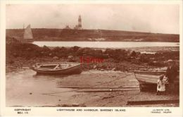 CAERNARVONSHIRE BARDSEY ISLAND HARBOUR & LIGHTHOUSE MAN & GIRL BOATS PHOTO CARD - Caernarvonshire