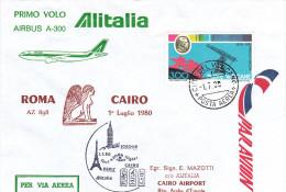 Roma Vaticane Cairo Via Alitalia Airbus 1980 - 1er Vol Erstflug Inaugural Flight - Le Caire Rome Egypt - Égypte