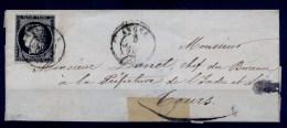 France n� 3a obl. c�d 5 JANV. 49 s/Lettre - sign� Calves - Cote 3000 Euros TTB qualit�
