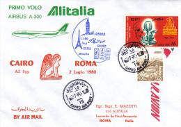 Cairo Roma Via Alitalia Airbus 1980 - 1er Vol Erstflug Inaugural Flight - Le Caire Rome Egypt - Égypte