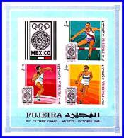 FUJEIRA 1972 SUMMER OLYMPICS - MEXICO / FIELD & TRACK Imperforated S/S (3ALL) - Zomer 1968: Mexico-City
