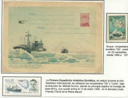 ANTARTIDA - FILATELIA POLAR / RUSIA /1ª EXPED. ANTÁRTICA 1956 / EN ENTERO POSTAL DE 1957 - Antarctic Expeditions