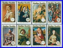 RWANDA 1974 PAINTINGS SC#594-601 MNH RELIGION, NUDE, JUDAICA (3ALL)