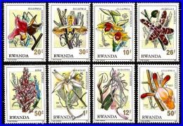 RWANDA 1976 ORCHIDS FLOWERS SC#779-86 MNH CV.6.50EURO   (3ALL)