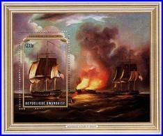 RWANDA 1976 USA REVOLUTION / SAIL SHIP PAINTING SC#730 MNH MILITARY, FIRE (3ALL) - Us Independence