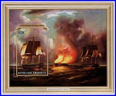RWANDA 1976 USA REVOLUTION / SAIL SHIP PAINTING SC#730 MNH MILITARY, FIRE (3ALL) - Art