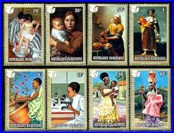 Rwanda 1975 PAINTINGS Vermeer,Goya, Cassatt SC#665-72 MNH COSTUMES, MICROSCOPE   (3ALL)