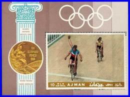 AJMAN 1968 MEXICO OLYMPICS / CYCLING S/S MNH  (3ALL) - Zomer 1968: Mexico-City