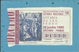 LOTARIA NACIONAL - 19.ª ESP. - 29.06.1990 - SÃO PEDRO - SINTRA - Portugal - 2 Scans E Description - Biglietti Della Lotteria