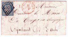 1851- Lettre De PARIS Cad Bureau Central ROUGE  Affr. N°4 ( 3 Marges )  Oblit. Grille - 1849-1876: Classic Period