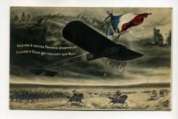 CPA  Militaria 14-18 :  Fantaisie / Gloire à La France Avec Avion Et Drapeau   A  VOIR  !!!!! - War 1914-18