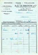 """Facture """"Beurre & œufs"""" André Le Breton, ROSPORDEN, Finistère  1945 - Alimentos"""