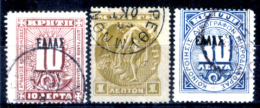Creta-019 - 1905/08 - Y&T: N.1, 3, 4 - - Creta