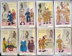 Lot 8x LITHO Illustrateur Roberty Humour Souvenir De Bruxelles Manneken-pis Soldat Bidasse Nonne Laitiere Kilt Papy - Lots, Séries, Collections