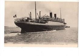 """C P A----------BATEAUX--SAINT-NAZAIRE-----le  """"cuba  """" De La Compagnie Générale Transatlantique--voir 2 Scans - Steamers"""