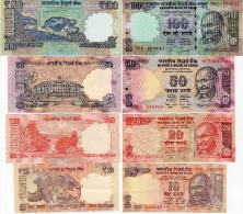 Inde - Billet  10 - 20 - 50 + 100 Roupies, Ghandi, TBE, Ser No. Selon Scan, Lot 41142 - Inde