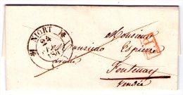 Lac De Niort Pour Fontenay Le Comte - 1840 - Cachet PP Encadré Rouge - 3 Scan