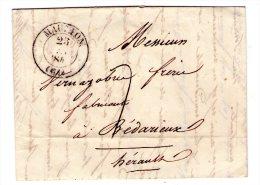 Lac De Mauleon Pour Bedarieux  - 1840 - Cachet De Mauleon