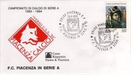 Italia 1993 annullo su busta dedicata Piacenza Calcio ritorna in serie A