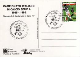 Italia 1995 annullo su cartolina dedicata Piacenza Calcio ritorna in serie A