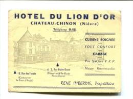 CHATEAU CHINON (58) HOTEL DU LION D OR PROPRIETAIRE RENE IMBERDIS CARTE PUBLICITAIRE - Chateau Chinon