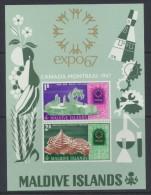 Maldive Islands  - Maldives  1967  World Fair , Montreal : Miniature Sheet   *  MVLH - Maldives (1965-...)