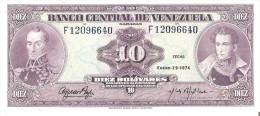 BILLETE DE VENEZUELA DE 10 BOLIVARES DEL AÑO 1974  (BANK NOTE) - Venezuela