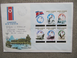 1799 Corée Du Nord Antarctic Station 1991 Penguin Manchot Rare Courrier Pour La France Bloc Polaire Polar South Pole Sud - Stamps