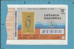 LOTARIA NACIONAL - 16ª ORD. - 19.04.1991 - JOVEM PORTUGUÊS - MINIATURA PERSA - Portugal - 2 Scans E Description - Lottery Tickets