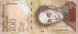 BILLETE DE VENEZUELA DE 100 BOLIVARES DEL 3 DE SEPTIEMBRE 2009 (BANK NOTE) PAJARO-BIRD - Venezuela