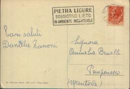 1956 Targhetta Meccanica Pietra Ligure Su Cartolina - Marcophilie - EMA (Empreintes Machines)