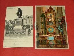 STRASBOURG - STRASSBURG  -  2 Cartes : Horloge Astronomique Et Monument Kléber (1906) - Straatsburg