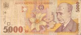 BILLETE DE RUMANIA DE 5000 LEI DEL AÑO 1998 (BANK NOTE) - Rumania