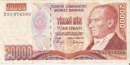 BILLETE DE TURQUIA DE 20000 LIRASI DEL AÑO 1970   (BANKNOTE) - Turquia