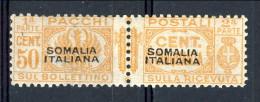 GRANDE RARITA' Somalia Pacchi N 58 C50 Arancio MNH, Molto Fresco, Firmato Colla, Fiocchi, Biondi Cat. € 24000 - Somalia
