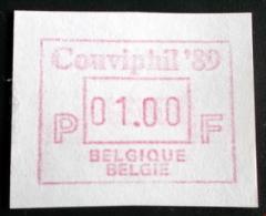 ATM Couviphil 89 A Papier RRR! ( OPLAGE 32 ATM Van 1,- Bef! ) - Vignettes D'affranchissement