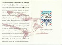 GERMANY GERMANIA ALLEMAGNE 9 7 1991 OTTO LILIENTHAL AVIATION EHRUNG SONDERPOSTWERTZEICHEN TAG DER BRIEFMARKE FDC - [7] Federal Republic
