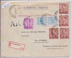 BELGIQUE-LETTRE RECOMMANDEE DE CHARLEROI POUR LES ATTAQUES-FRANC- 14 FRS-1959 - Marcofilia