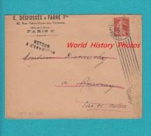 """Enveloppe Ancienne - PARIS 2e - E. Desfossés & Fabre Frères - Cachet """" Lieu De Destination Envahi """" - Postmark Collection (Covers)"""