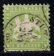 WURTTEMBERG, 1863, Cancelled Stamp(s) 1 Kreuzer, Yellow-green, MI 25, #16089 - Wurttemberg