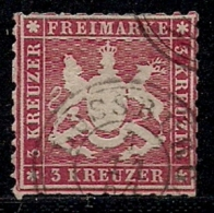 WURTTEMBERG, 1863, Cancelled Stamp(s) 3 Kreuzer, Red, MI 25, #16090 - Wurttemberg