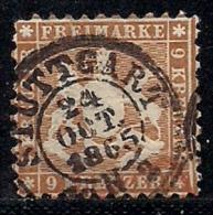 WURTTEMBERG, 1863, Cancelled Stamp(s) 9 Kreuzer, Yellow-brown, MI 28, #16091 - Wurttemberg