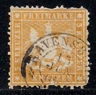 WURTTEMBERG, 1862, Cancelled Stamp(s) 3 Kreuzer, Yellow, MI 22, #16094 - Wurttemberg