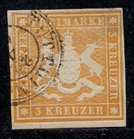 WURTTEMBERG, 1861, Cancelled Stamp(s) 3 Kreuzer, Yellow-orange, MI 17, #16097 - Wurttemberg